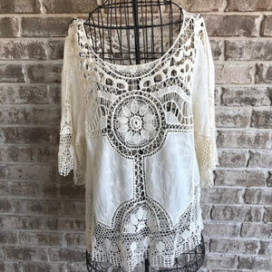 Democracy Crochet Top Size Large Flowy Sleeves